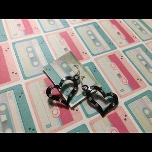 *5/$15* black open heart earrings